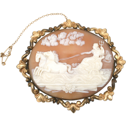 Very Large Victorian shell cameo--Neptune with his trident in the waves.