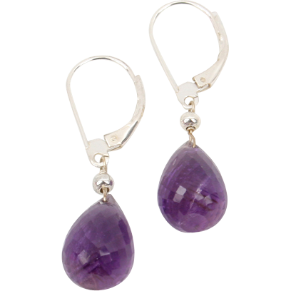Great Amethyst briolette dangle earrings