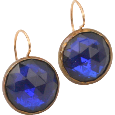 Great Victorian blue paste earrings