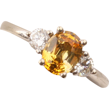 Pretty 14K white gold & yellow Sapphire/Diamond ring