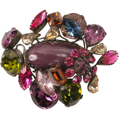 Large Schreiner brooch--purples