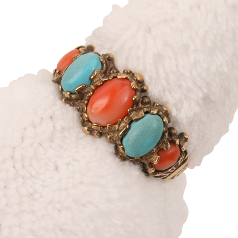 Terrific Victorian Coral & Turquoise ring--gold