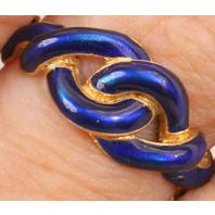Pretty 18K blue enamel knot ring