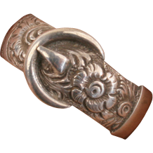 Victorian silver belt ring with fancy design, rare larger size.