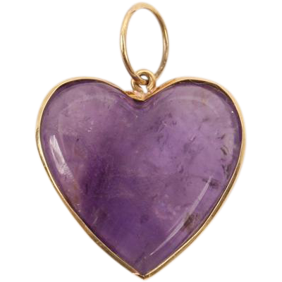 Very Pretty Amethyst Heart pendant set in gold