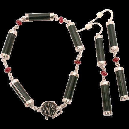 Mason Kay black Jadeite & Ruby bracelet & earring set