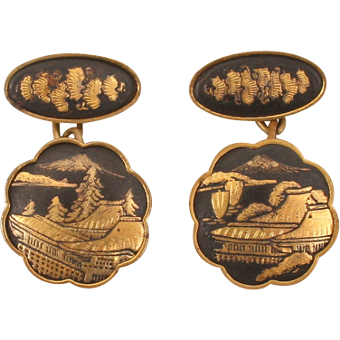 Fine Damascene cufflinks