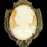 Miriam Haskell shell cameo brooch