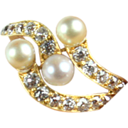 Delicate gold and cultured Pearl ring