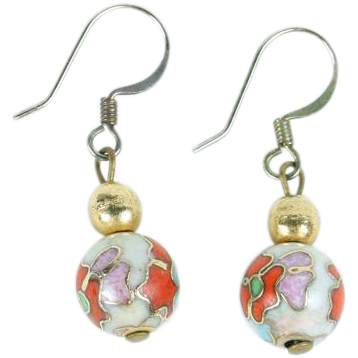 Pretty Cloisonne ball earrings