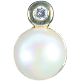 Gold plated over sterling faux Pearl Pendant