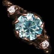 Unusual Victorian Blue Zircon & Diamond ring