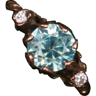 Unusual Victorian Blue Zircon & Diamond ring