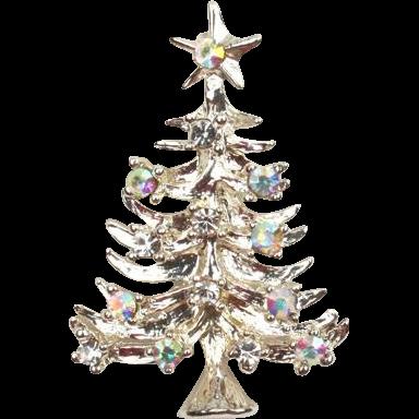 Pretty Eisenberg Ice aurora rhinestone Christmas pin
