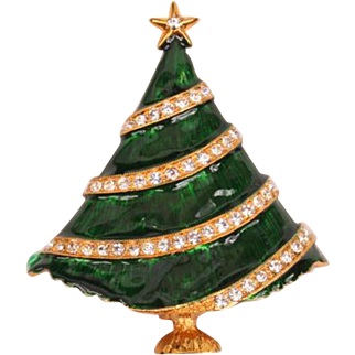 Eisenberg Ice green enamel & rhinestone Christmas tree Pin