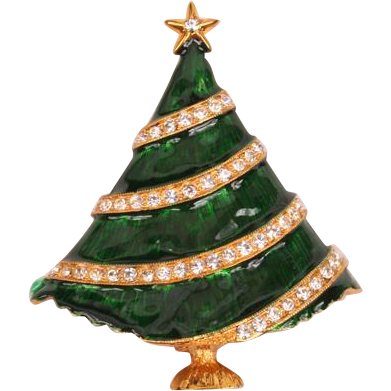 Eisenberg Ice green enamel & rhinestone Christmas tree Pin