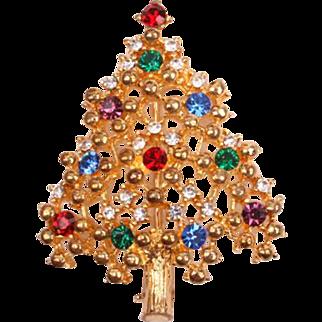 Pretty Eisenberg Ice multi-colored Christmas tree pin