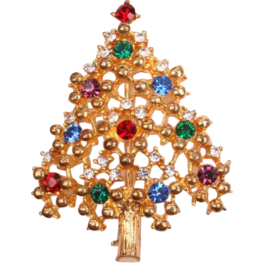 Pretty Eisenberg Ice multi-colored Christmas tree pin
