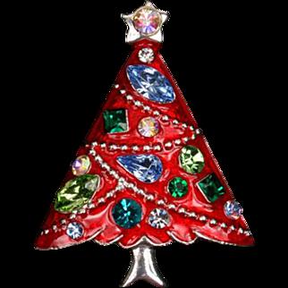 Pretty red enamel and rhinestone Eisenberg Ice Christmas tree pin