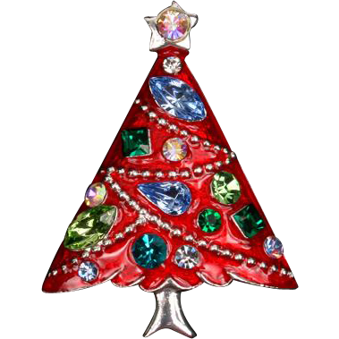 Pretty red enamel and rhinestone Eisenberg Ice Christmas tree pin