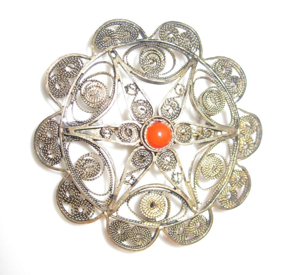 Bezalel Israel Gilded Silver Palestine Filigree Pin / Pendant