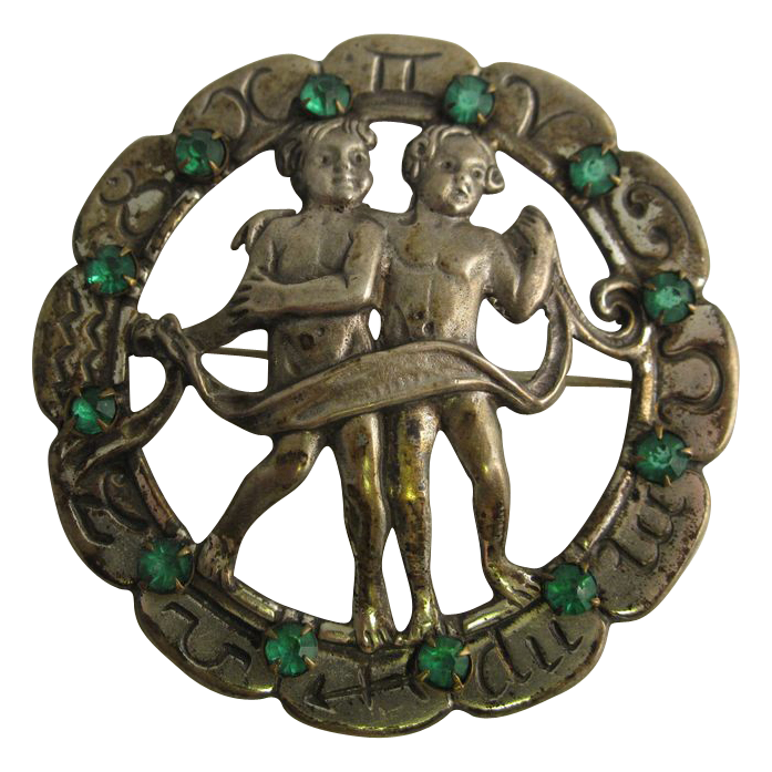 Vintage Sterling Silver Zodiac Pin Gemini with Green Stones