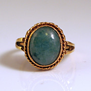 Estate Ring 10k Gold and Large Green Stone in Center
