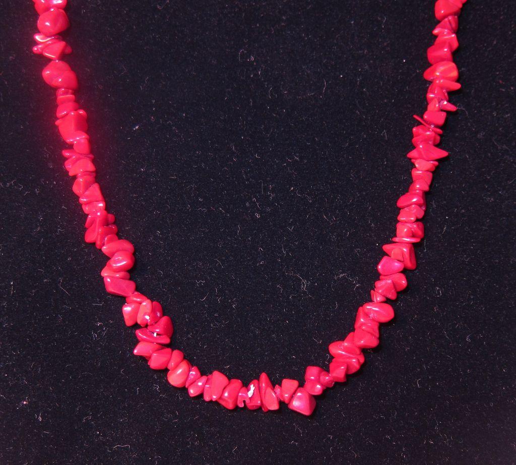 Vintage Blood Red Coral Necklace