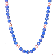 Blue Lapis Lazuli Beaded Necklace with 14k Yellow Gold Clasp