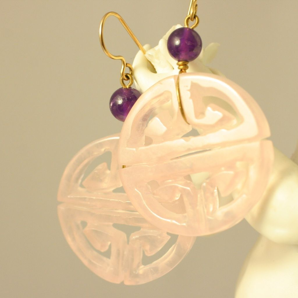 Vintage Carved Rose Quartz Chinese Design Round Earrings