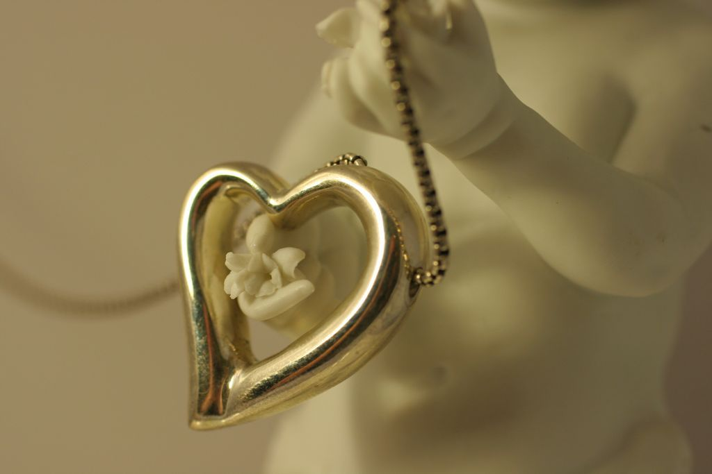 Vintage Italian Sterling Silver Heart Necklace