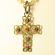 Gilt Sterling Silver Cross with a Decorative Chain Necklace