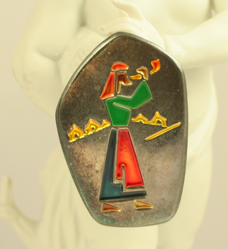 Vintage Sterling Silver & Enamel Jewish Pin / Pendant Israel