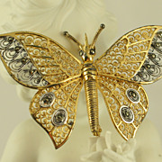 Alice Caviness Gilt Sterling Silver Filigree Butterfly Pin Brooch Germany