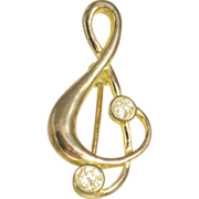 Vintage Sterling Silver Treble Clef Pin