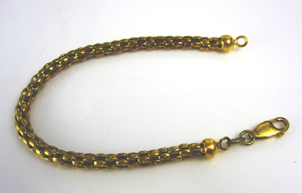 Vintage Sterling Silver Gilt Rope Chain Bracelet Italy