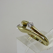 Vintage 14k Yellow Gold Ring with Simulated Diamonds