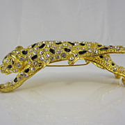 Vintage 1980s Leopard Shoulder Pin w/ Black Enamel and Crystals