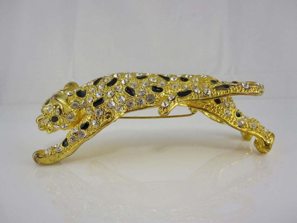 Vintage 1980s Leopard Shoulder Pin w/ Black Enamel and Crystals