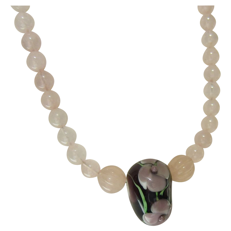Vintage Pink Rose Quartz Necklace with Glass Flower Bead Pendant