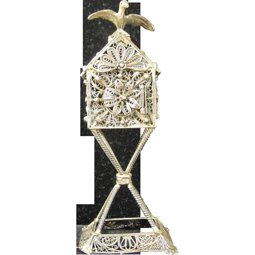 Vintage Bezalel Sterling Silver Besamim Spice Tower  1940s