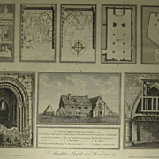 Antique engravings by J. Basire of Magdalen Chapel near Winchester England 1790