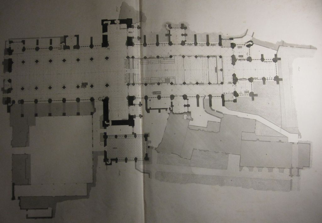Antique Architecture Print Plan of Exeter Cathedral by Basire 1797 Double Folio