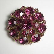 Vintage Dark Pink Rhinestones Pin Brooch by Weiss