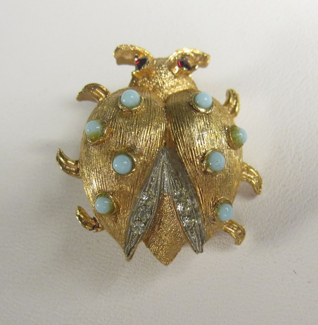 Vintage West Germany Ladybug Pin Brooch by Elfa