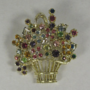 Vintage Flower Basket Pin Brooch w/ Multicolor Rhinestones