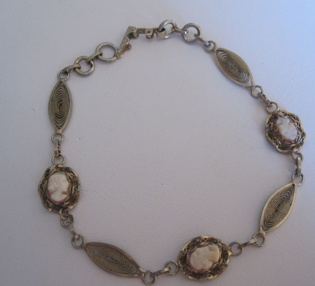 Vintage 12 Gold Filled Cameo Filigree Bracelet by Dixelle