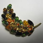 Vintage Multicolor Rhinestones Pin Brooch Autumn Season