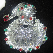 Vintage Silver Colored Santa Claus Brooch Pin