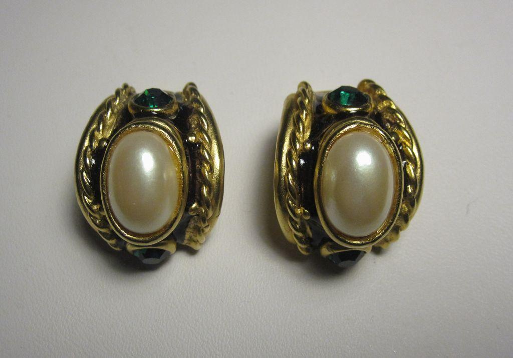 Pair of Vintage Blancas Gold Tone Clip Earrings